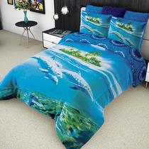 Cobertor Matrimonial Providencia Delfines Reverso Borrega