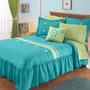 Colcha Con Fundas Decorativas Quetzal Azul Agua Queen Size