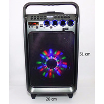 Bocina Bluetooth 8 Pulgadas Luz Usb Micro Sd Radio Aux Mic