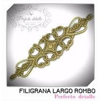 25 Filigranas Largo C/ Rombo Bronce Para Decorar Invitacione