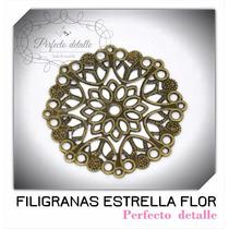 25 Filigranas Estrella Flor Bronce Para Decorar Invitaciones