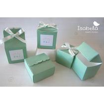 Paquete Cajas Cajitas Verde Recuerdos Dulces Boda Despedida