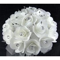 Ramo Bouquet Rosas Cristal Bco Ivory