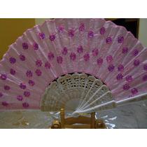 Abanicos Colores Bordados Lentejuelas $20 C/u Bodas Recuerd