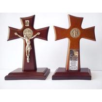 Cruz De Madera San Benito Recuerdo De Bautizo Comunion Boda