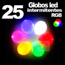 25 Globos Con Luz Led Multicolor Rgb Intermitentes Fiestas E