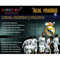 Super Kit Imprimible Real Madrid Invitaciones Personalizadas