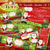 Kit Imprimible Navidad No 2 Tarjetas Invitaciones Candy Bar