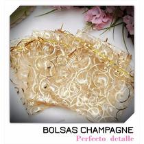 50 Bolsas De Organza Champagne Medianas 9 Cm X 12 Cm