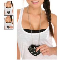 Hot Topic Monedero Black Studded Heart Coin Purse Necklace