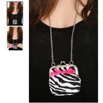 Hot Topic Monedero Black And White Zebra Coin Purse Necklace