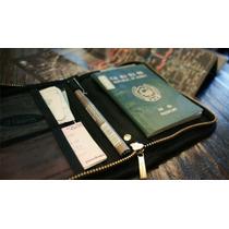 Organizador De Pasaporte Tarjetero Billetera Viajes - Negro