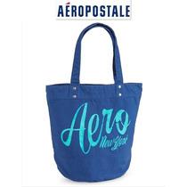 Bolsa Aeropostale Tote Azul Forrada Con Cierre Interior Ve!!
