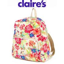 Backpack Bolsa Claires Mochila Beige Dorada Flores Padrisima