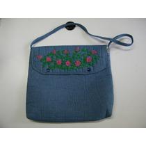 Bolso Azul Acero De Tela Ligera Y Bordado Floral