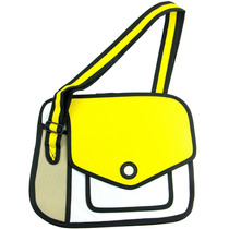 Bolsa Messenger 2d De Caricatura Amarillo Con Blanco M2174