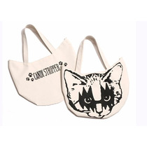 Bolsa De Mano De Algodón En Color Negro Con Diseño De Gato