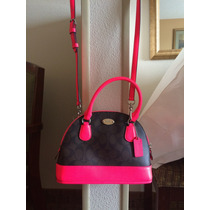 Bolsa Coach Piel Original Mini Cora Domed Satchel Café/rosa