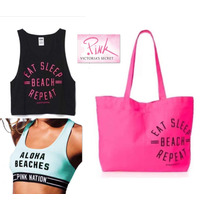 Set 3 Pz M Bolsa Tote,top,sport Bra Victorias Secret Mediano