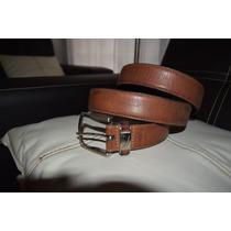 Elegante Cinturón Náutica Original En Piel Color Miel T-40