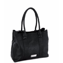 Bolsa Cloe Negra Con Textura Tipo Cocodrilo
