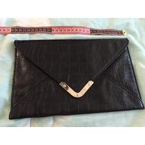 Bolsa Negra Clutch Elegante En Piel Similar Vivora