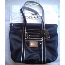 Coach Poppy Black Silver Leather Glam Tote 13820