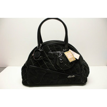 Hermosa Bolsa Juicy Couture Quilted Velour Negra Maa