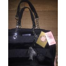 Bolsa Juicy Couture 100% Original Negra Seda Velour Nueva