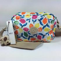 Bolsa Cruzada Blanca Con Limones De Colores Original Kipling