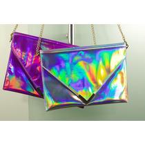 Bolsa Holograma Metálica Tornasol Forma Sobre Clutch Hipster