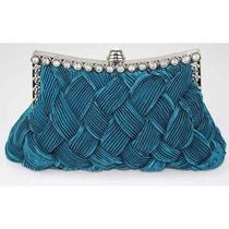 Bolsa Para Mujer Azul Del Trullo Tejido Estilo Tarde Del Em