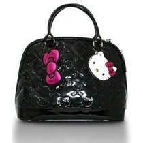 Bolsa Loungefly Hello Kitty Negro Brillante Patente En Reli