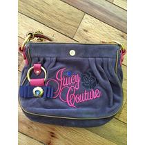 Bolsa Juicy Couture Terciopelo Azul Y Rosa Original