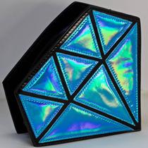 Bolsa Holograma Tornasol Forma De Diamante Colores Metálicos