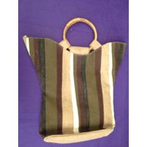 Bolsa Para Playa De Yute Rayada Asas De Bambú