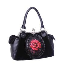 Bolsa Negro Camafeo Rosas Rojo Negro Elegante Gotico Lolita