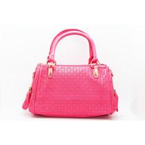 Bolsa Rosa Con Detalles Dorados B23
