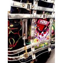 Bolsa Ed Hardy 100% Original Xl Piel Y Canvas Skull Swallow