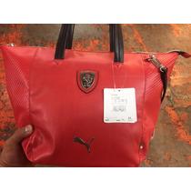 Bolsa Puma Ferrari De Mano-dama 100% Piel Original Roja 2