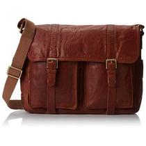Bolsa Mensajero Ledger Leather En Cuero Fossil -café