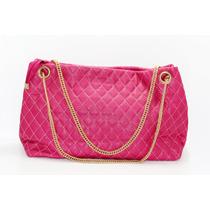 Bolsa Rosa Costuras Rombos Y Cadena Dorada B37