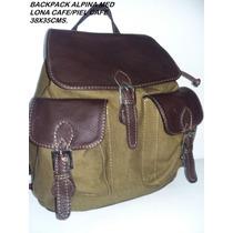 Back Pack Alpina Mediana 100% Piel Ternera Calidad