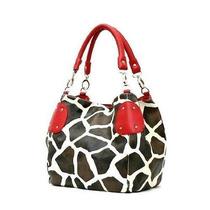 Bolsa Rojo Grande Vicky Girafa Imitación De Cuero Satchel B