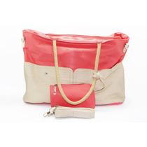 Bolsa Rosa Y Color Crema Y Monedero. B34