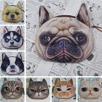 Monederos Cara De Gato Perro Pug Chihuahua Harajuku Kawaii