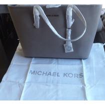 Bolso Michael Kors Jet Set Gris Con Plata Piel