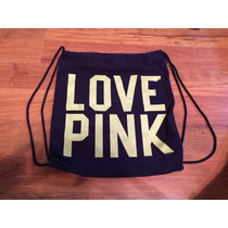 Linda Bolsa Morralito Victorias Secret Pink Azul Marino!!