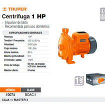 Bomba Electrica Para Agua Centrifuga 1 Hp