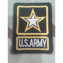 Parches Militares Logo Us Army Bordado Negro/amarillo